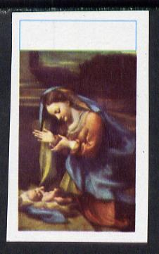 New Zealand (or Niue) 1970 Christmas (Correggio's Virgin & Child) unmounted mint imperf proof single with Country & value omitted