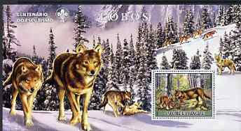 St Thomas & Prince Islands 2007 Wolves large perf s/sheet containing 1 value (Scout logo in background) unmounted mint