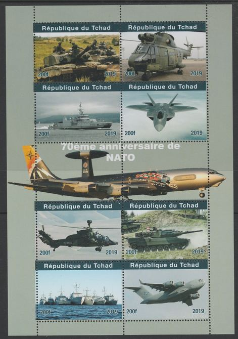 Chad 2019 75th Anniversary of NATO perf sheetlet containing 8 values unmounted mint. Note this item is privately produced and is offered purely on its thematic appeal, it has no postal validity