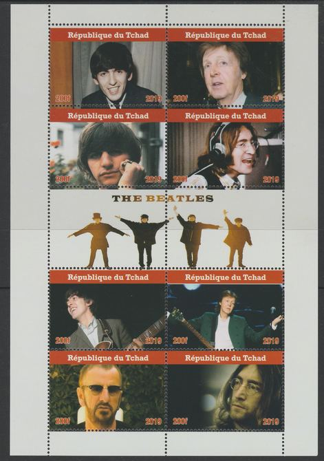 Chad 2019 The Beatles perf sheetlet containing 8 values unmounted mint. Note this item is privately produced and is offered purely on its thematic appeal, it has no postal validity