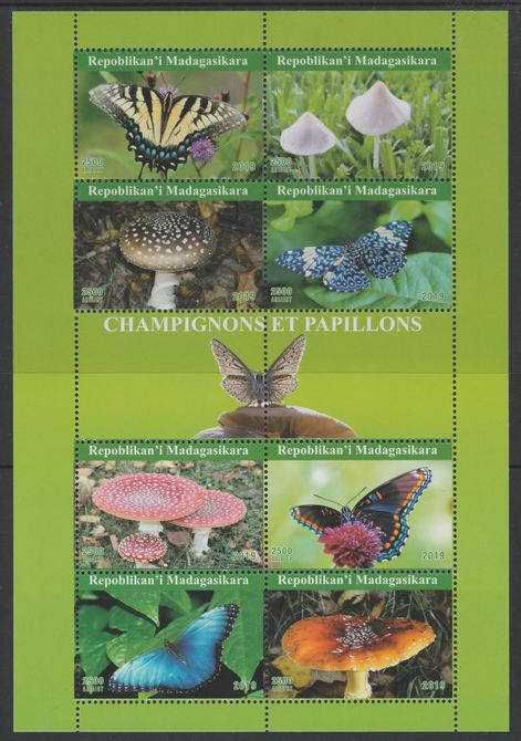 Madagascar 2019 Butterflies & Fungi perf sheetlet containing 8 values unmounted mint. Note this item is privately produced and is offered purely on its thematic appeal, it has no postal validity