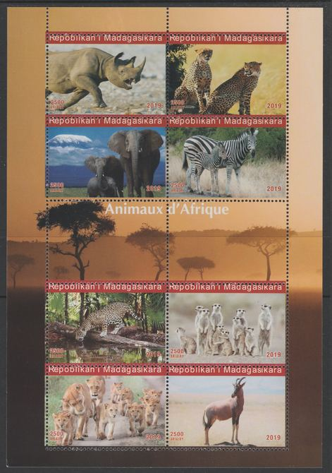 Madagascar 2019 Animals of Africa perf sheetlet containing 8 values unmounted mint. Note this item is privately produced and is offered purely on its thematic appeal, it has no postal validity