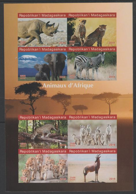Madagascar 2019 Animals of Africa imperf sheetlet containing 8 values unmounted mint. Note this item is privately produced and is offered purely on its thematic appeal, it has no postal validity