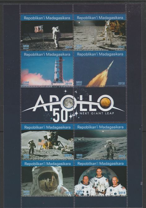 Madagascar 2019 Fifty Years of Apollo perf sheetlet containing 8 values unmounted mint. Note this item is privately produced and is offered purely on its thematic appeal, it has no postal validity