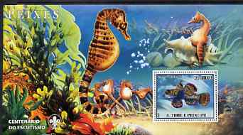 St Thomas & Prince Islands 2007 Fish large perf s/sheet containing 1 value (Scout logo in background) unmounted mint