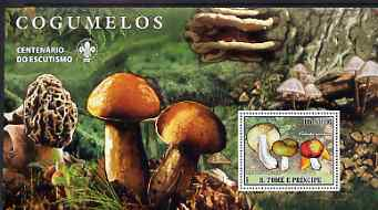 St Thomas & Prince Islands 2007 Fungi large perf s/sheet containing 1 value (Scout logo in background) unmounted mint