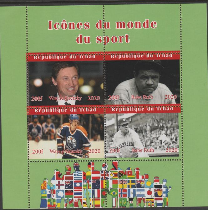 Chad 2020 Icons from the World of Sport #1 perf sheetlet containing 4 values unmounted mint.