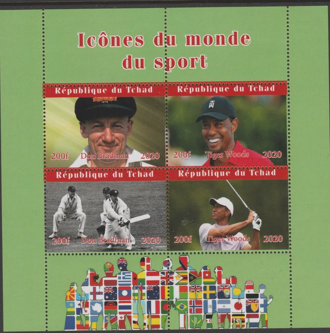 Chad 2020 Icons from the World of Sport #2 perf sheetlet containing 4 values unmounted mint.