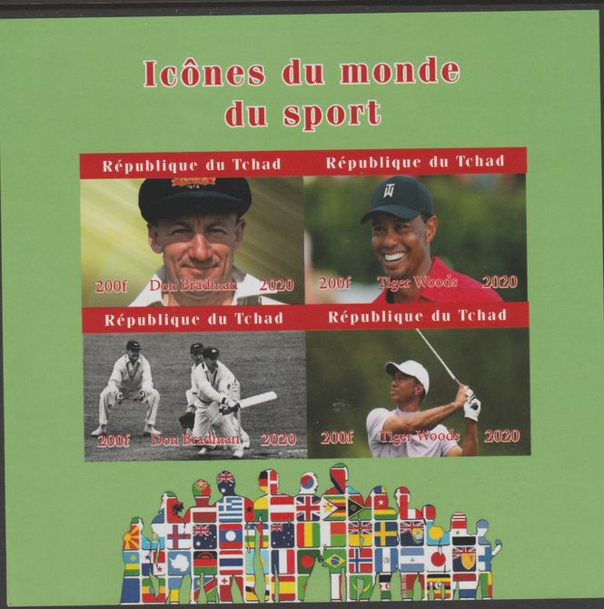 Chad 2020 Icons from the World of Sport #2 imperf sheetlet containing 4 values unmounted mint. , stamps on sport, stamps on cricket, stamps on golf, stamps on flags
