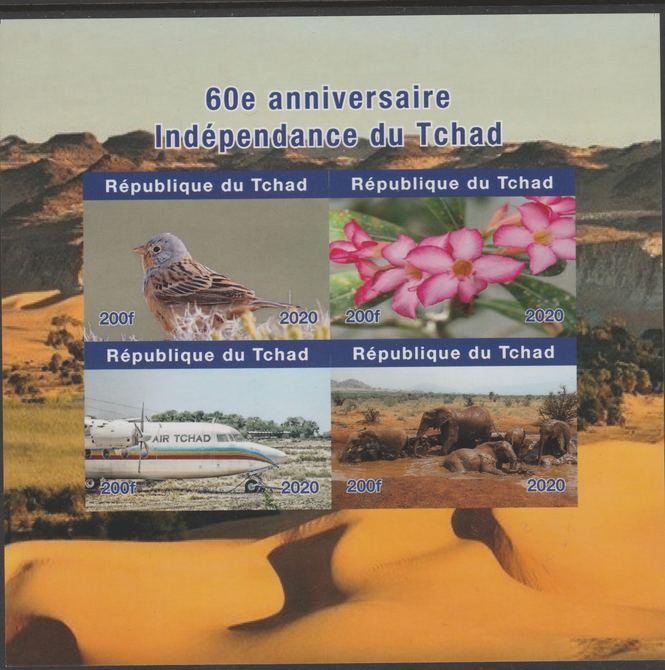 Chad 2020 60th Anniversary of Independence #1 imperf sheetlet containing 4 values unmounted mint. , stamps on birds, stamps on flowers, stamps on aviation, stamps on animals, stamps on elephants