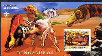 St Thomas & Prince Islands 2007 Dinosaurs large perf s/sheet containing 1 value (Scout logo in background) unmounted mint