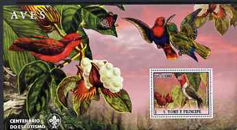 St Thomas & Prince Islands 2007 Birds #1 large perf s/sheet containing 1 value (Scout logo in background) unmounted mint