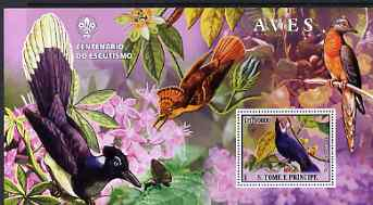 St Thomas & Prince Islands 2007 Birds #2 large perf s/sheet containing 1 value (Scout logo in background) unmounted mint