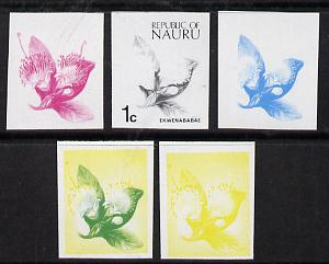 Nauru 1973 Plant (Ekwenababae) 1c definitive (SG 99) set of 5 unmounted mint IMPERF progressive proofs on gummed paper (blue, magenta, yelow, black and blue & yellow)