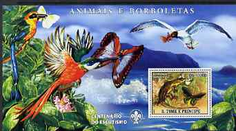 St Thomas & Prince Islands 2007 Animals & Butterflies #1 large perf s/sheet containing 1 value (Scout logo in background) unmounted mint