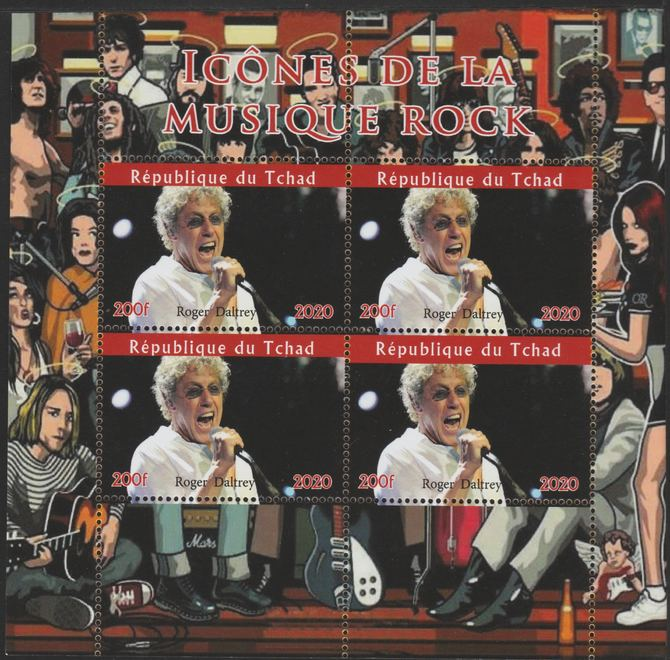 Chad 2020 Rock Music Icons of the Twentieth Century - Roger Daltrey perf sheetlet containing 4 values unmounted mint. , stamps on music, stamps on rock, stamps on pops, stamps on