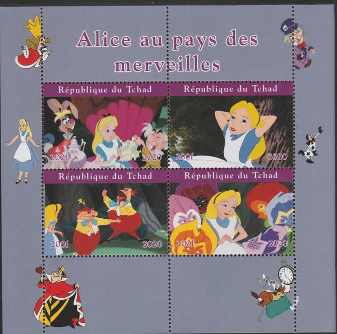 Chad 2020 Alice in Wonderland perf sheetlet containing 4 values unmounted mint.