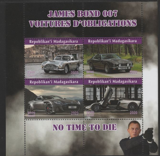 Madagascar 2020 James Bond Cars perf sheetlet containing 4 values unmounted mint