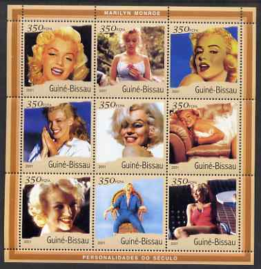 Guinea - Bissau 2001 Marilyn Monroe #2 perf sheetlet containing 9 values (9 x 350 FCFA) unmounted mint Mi 1920-28