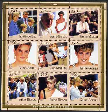 Guinea - Bissau 2001 Princess Diana perf sheetlet containing 9 values (9 x 350 FCFA) unmounted mint Mi 1929-37