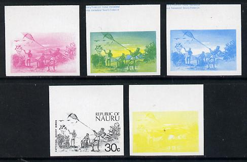 Nauru 1973 Catching Noddy Birds 30c definitive (SG 110) set of 5 unmounted mint IMPERF progressive proofs on gummed paper (blue, magenta, yelow, black and blue & yellow)