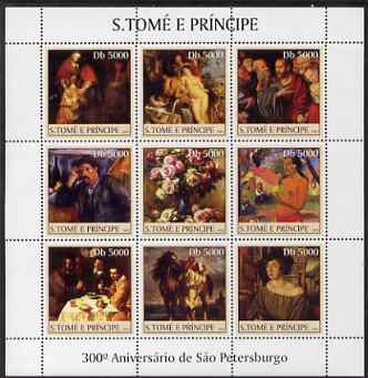 St Thomas & Prince Islands 2003 300th Anniversary of St Petersburg perf sheetlet containing 9 values (Paintings #1) unmounted mint Mi 2458-66
