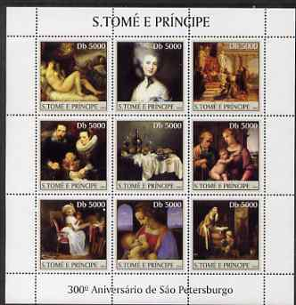 St Thomas & Prince Islands 2003 300th Anniversary of St Petersburg perf sheetlet containing 9 values (Paintings #2) unmounted mint Mi 2467-75