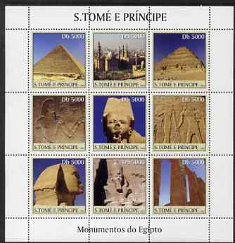 St Thomas & Prince Islands 2003 Monuments of Egypt #1 perf sheetlet containing 9 values unmounted mint Mi 2369-77