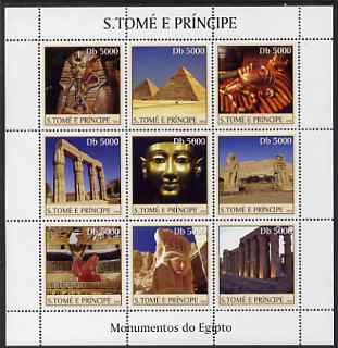 St Thomas & Prince Islands 2003 Monuments of Egypt #2 perf sheetlet containing 9 values unmounted mint Mi 2360-68