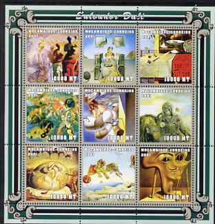 Mozambique 2001 Paintings by Salvador Dali perf sheetlet containing 9 values unmounted mint (9 x 10,000 MT) Mi 2007-15, Sc 1481