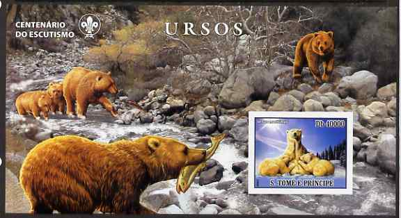 St Thomas & Prince Islands 2007 Bears large imperf s/sheet containing 1 value (Scout logo in background) unmounted mint
