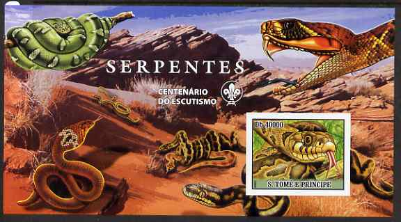 St Thomas & Prince Islands 2007 Snakes large imperf s/sheet containing 1 value (Scout logo in background) unmounted mint