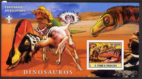St Thomas & Prince Islands 2007 Dinosaurs large imperf s/sheet containing 1 value (Scout logo in background) unmounted mint