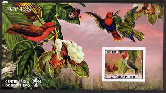 St Thomas & Prince Islands 2007 Birds #1 large imperf s/sheet containing 1 value (Scout logo in background) unmounted mint