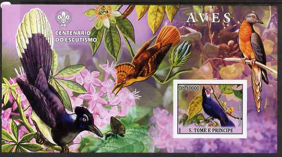 St Thomas & Prince Islands 2007 Birds #2 large imperf s/sheet containing 1 value (Scout logo in background) unmounted mint