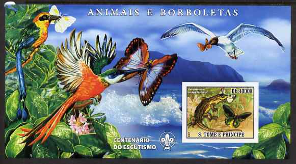 St Thomas & Prince Islands 2007 Animals & Butterflies #1 large imperf s/sheet containing 1 value (Scout logo in background) unmounted mint
