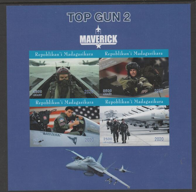Madagascar 2020 Top Gun 2 - Maverick imperf sheetlet containing 4 values unmounted mint.