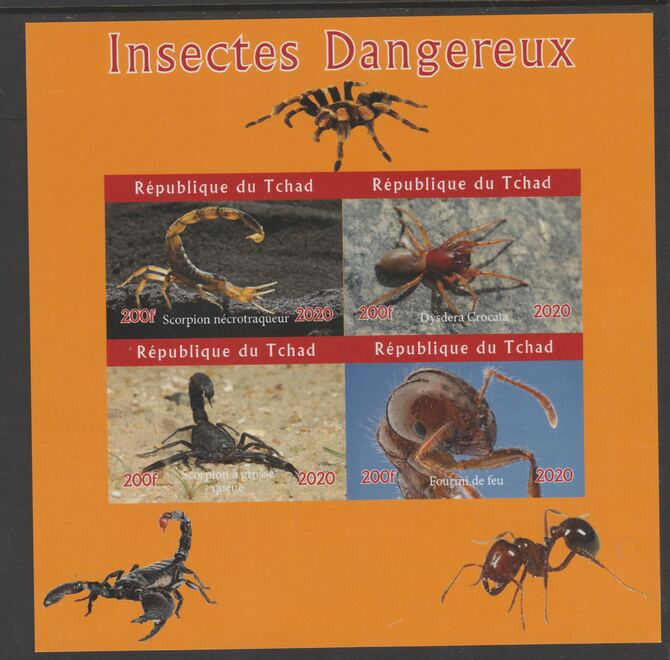 Chad 2020 Dangerous Insects imperf sheetlet containing 4 values unmounted mint.