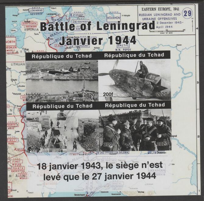 Chad 2020 Battle of Leningrad imperf sheetlet containing 4 values unmounted mint.