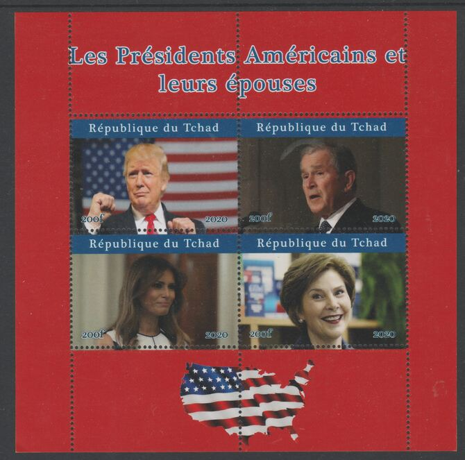 Chad 2020 US Presidents & First Ladies - the Trumps & the Bushes perf sheetlet containing 4 values unmounted mint. Note this item is privately produced and is offered purely on its thematic appeal