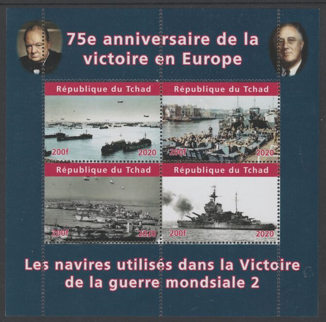 Chad 2020 75th Anniversary of Victory in Europe #2 perf sheetlet containing 4 values unmounted mint. Note this item is privately produced and is offered purely on its thematic appeal, stamps on ships, stamps on  ww2 , stamps on churchill, stamps on roosevelt