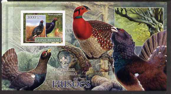 Guinea - Bissau 2007 Birds - Pheasants large imperf s/sheet containing 1 value (Scout logo in background) unmounted mint