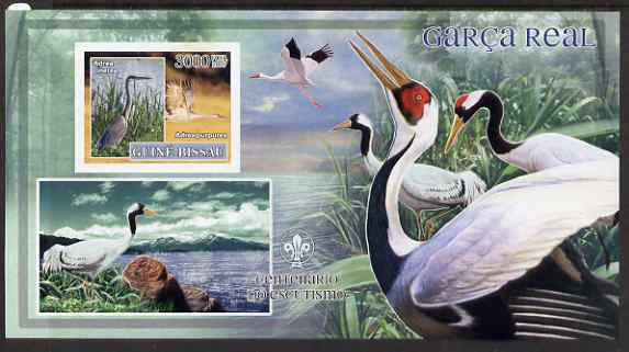 Guinea - Bissau 2007 Birds - Herons large imperf s/sheet containing 1 value (Scout logo in background) unmounted mint