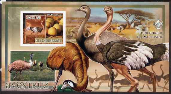 Guinea - Bissau 2007 Birds - Ostriches large imperf s/sheet containing 1 value (Scout logo in background) unmounted mint