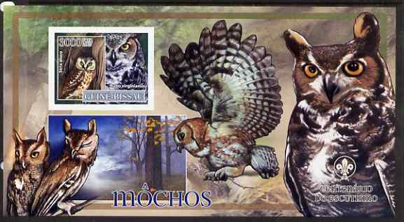 Guinea - Bissau 2007 Birds - Owls #1 large imperf s/sheet containing 1 value (Scout logo in background) unmounted mint