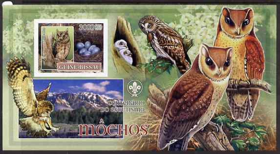 Guinea - Bissau 2007 Birds - Owls #2 large imperf s/sheet containing 1 value (Scout logo in background) unmounted mint