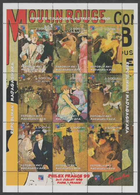 Madagascar  1998Paintings by Toulouse Lautrec perf sheetlet containing 9 values with Philex 99 imprint unmounted mint. Note this item is privately produced and is offered purely on its thematic appeal, stamps on arts, stamps on lautrec, stamps on stampex
