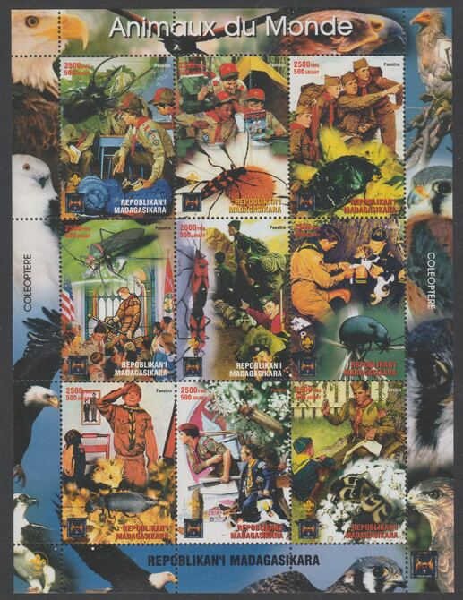 Madagascar  1998Animals of the World with Paintings by Norman Rockwell perf sheetlet containing 9 values unmounted mint. Note this item is privately produced and is offer...