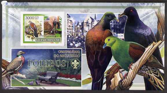 Guinea - Bissau 2007 Birds - Pigeons large imperf s/sheet containing 1 value (Scout logo in background) unmounted mint