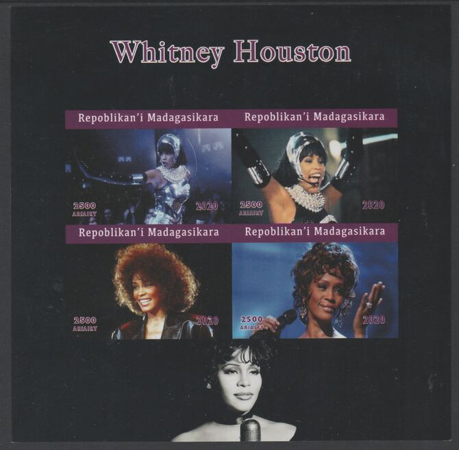 Madagascar 2020 Whitney Houston imperf sheetlet containing 4 values unmounted mint. Note this item is privately produced and is offered purely on its thematic appeal